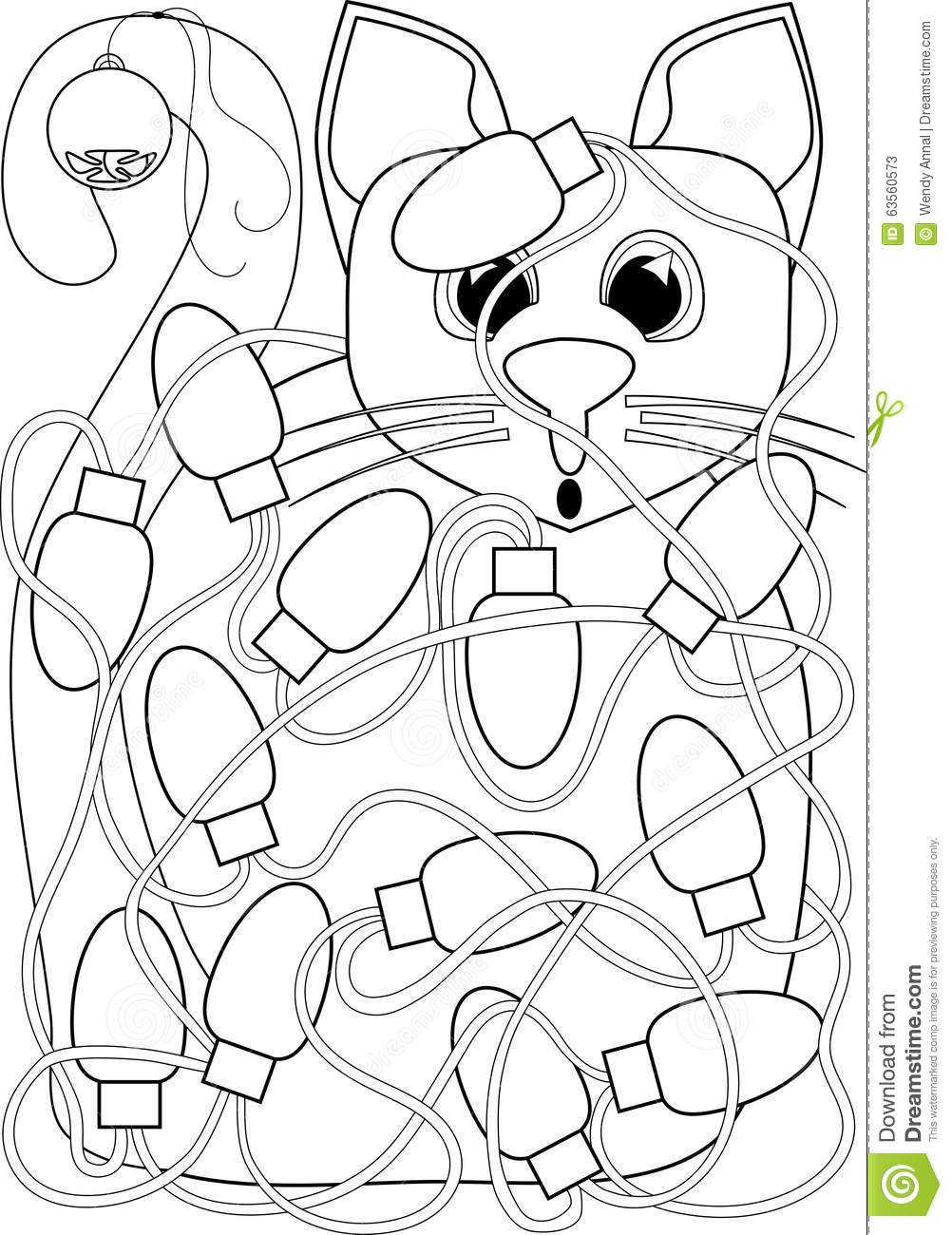 Christmas Lights Coloring Pages With Cat Tangled In Page Stock Illustration