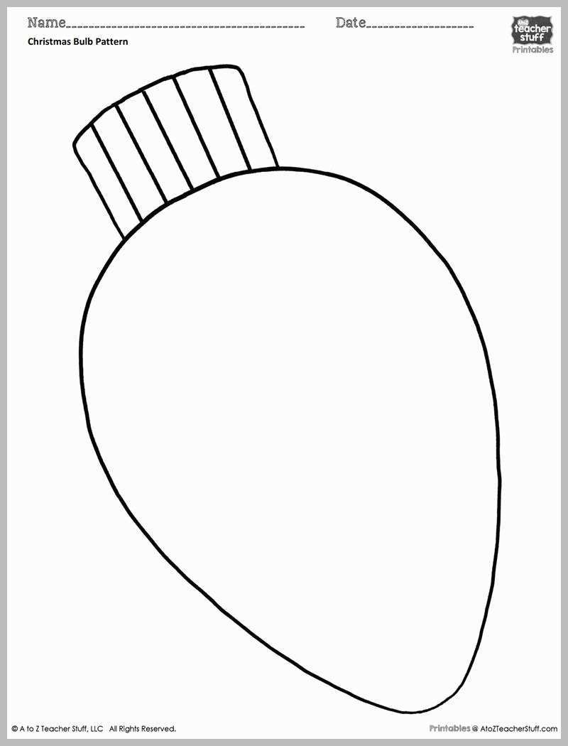 Christmas Lights Coloring Pages With Light Bulb Template 2018 Business Idea