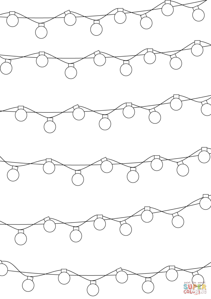 Christmas Lights Coloring Pages With Pattern Page Free Printable