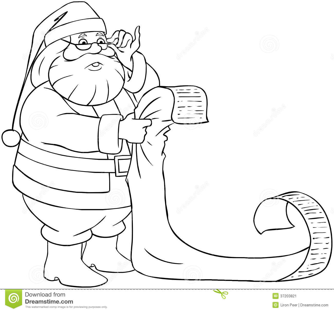 Christmas List Coloring Pages With Santa Claus Reads From Pag Stock Vector