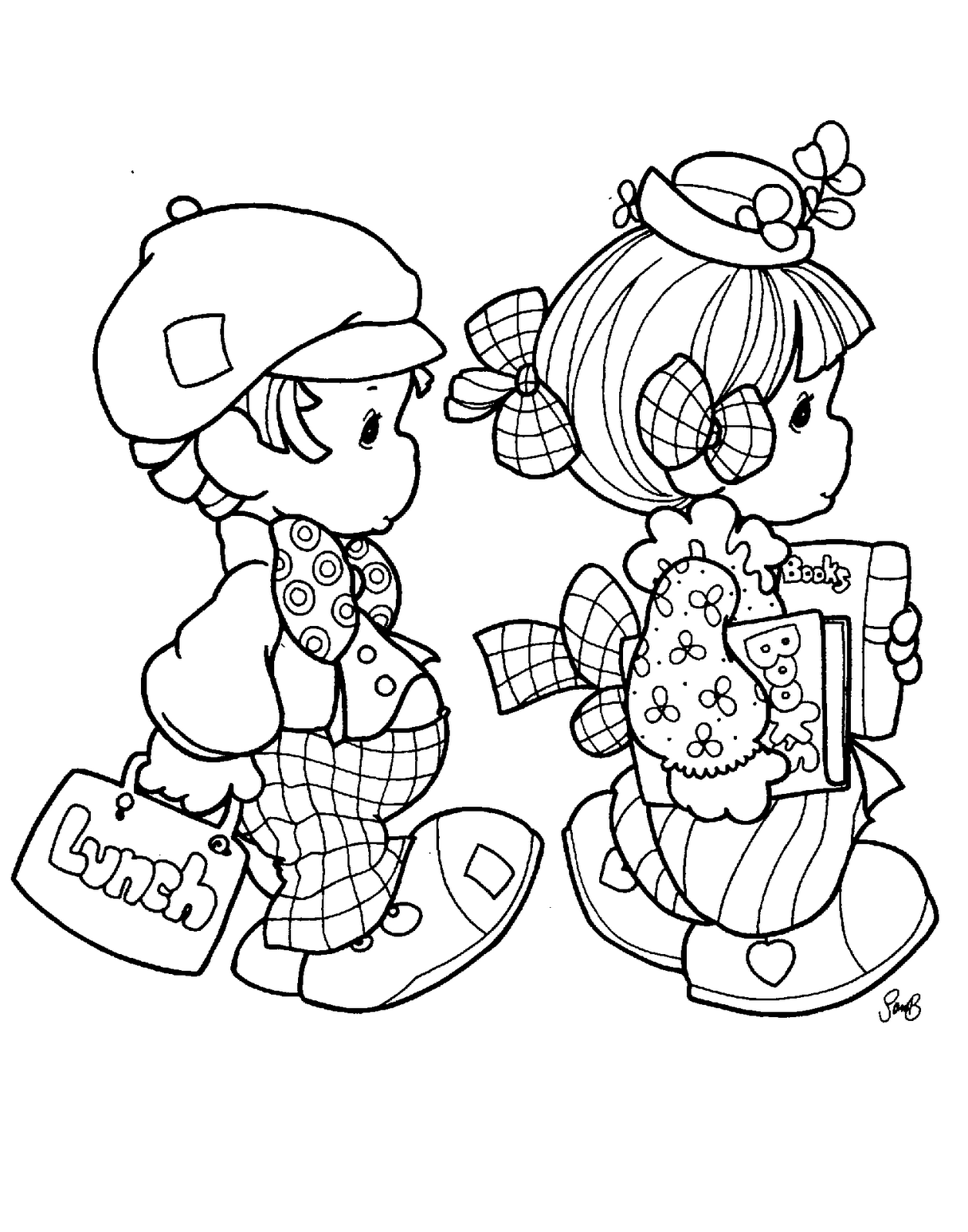 Christmas Love Coloring Pages With Precious Moments For Embroidery