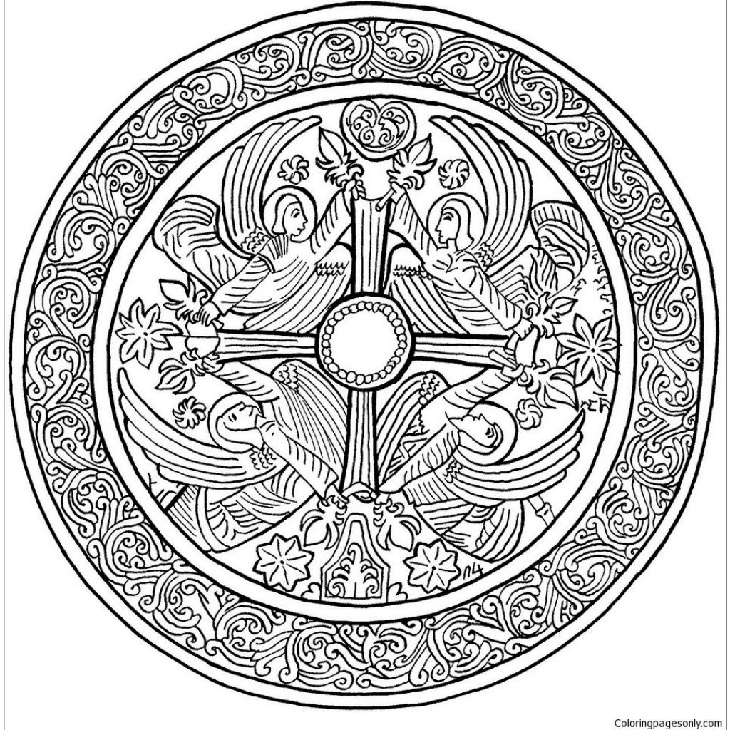 Christmas Mandala Coloring Pages With Angels Page