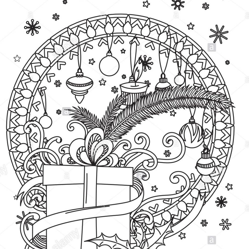 Christmas Mandala Coloring Pages With Page Adult Book Holiday Decore
