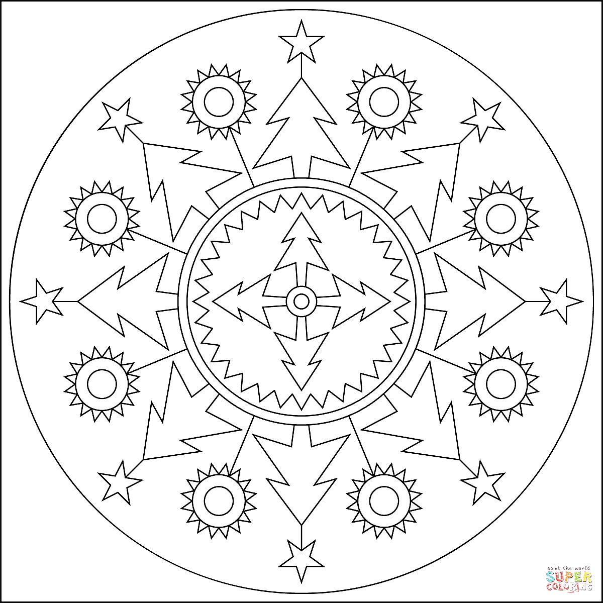 Christmas Mandala Coloring Pages With Page Show