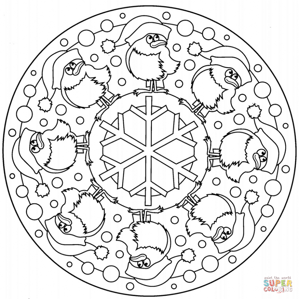 Christmas Mandala Coloring Pages With Printable