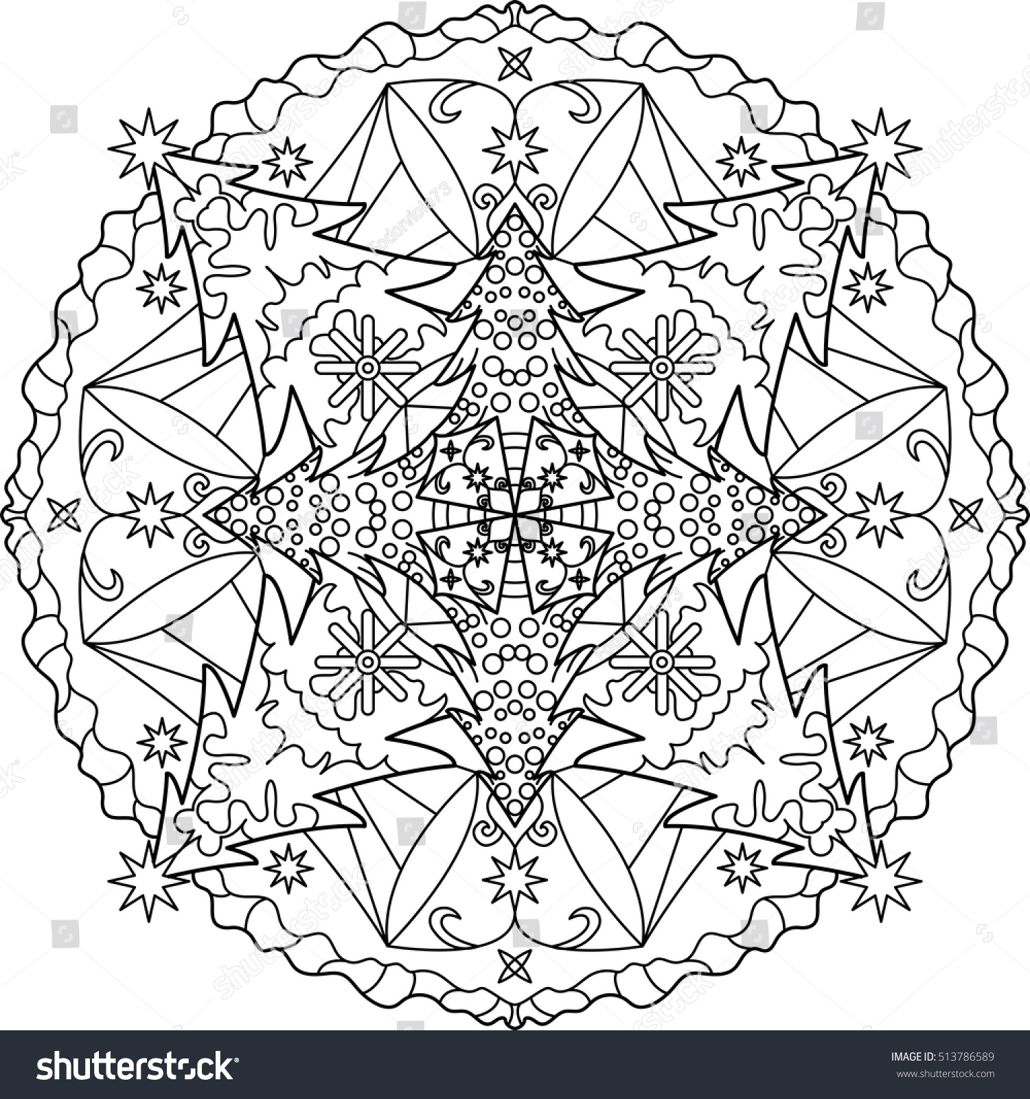Christmas Mandalas Coloring Book With Mandala Adult Outline Stock Vector Royalty