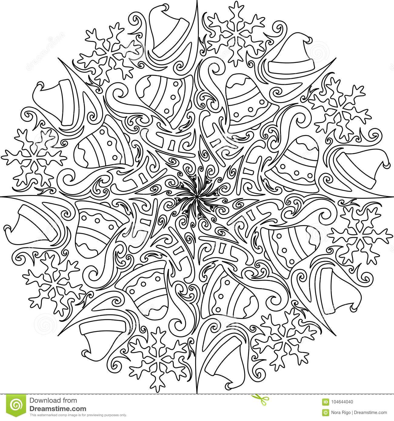 Christmas Mandalas Coloring Book With Mandala Decoration Stock Vector Illustration Of Holiday