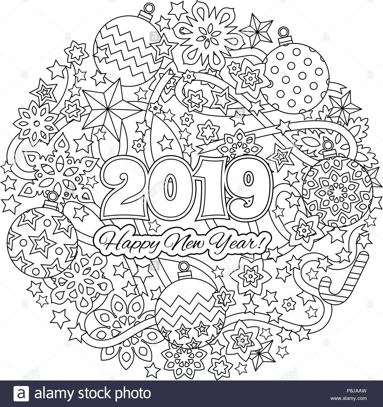 Christmas Mandalas Coloring Book With New Year Congratulation Card Numbers 2018 On Winter Holiday