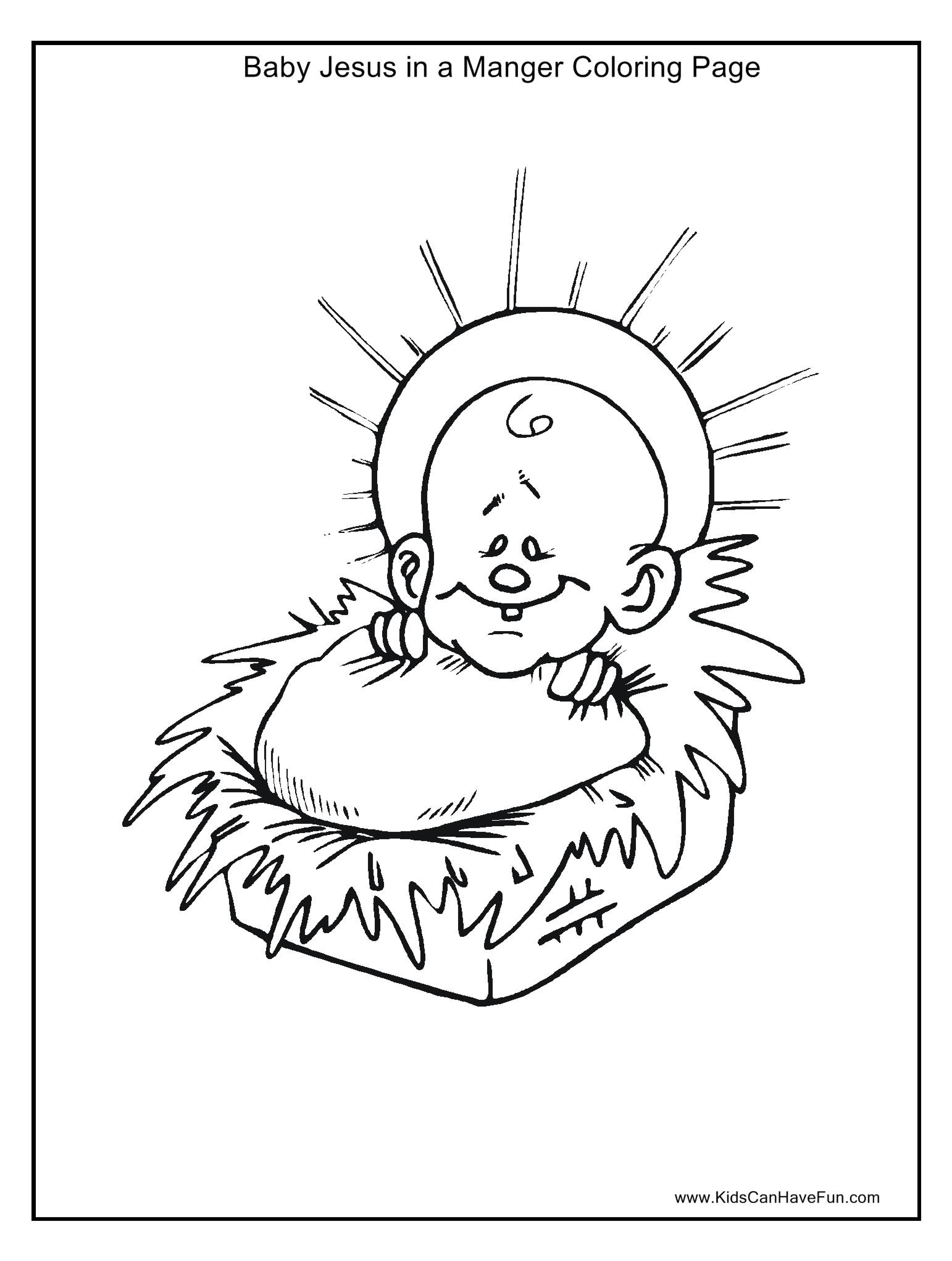 Christmas Manger Coloring Pages With Baby Jesus Halo In Page Http Www