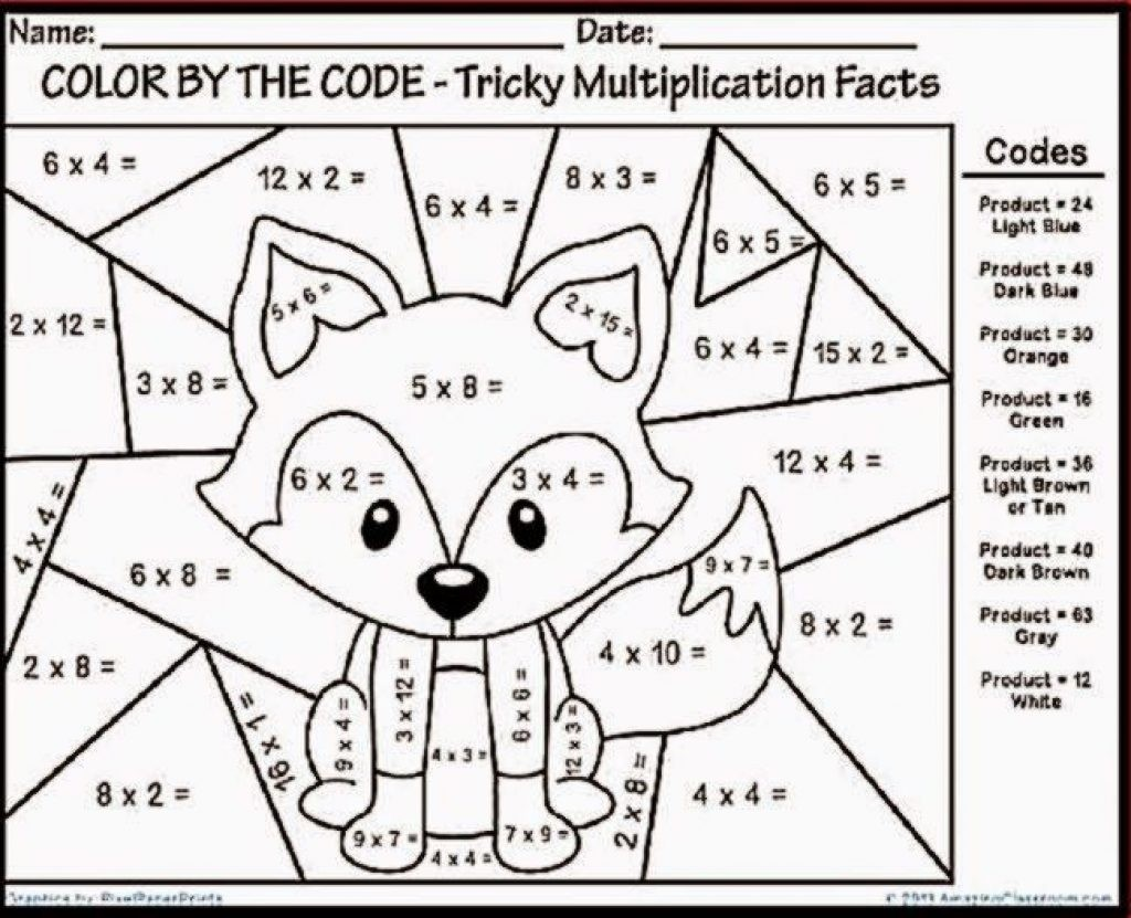 Christmas Math Coloring Worksheets 3rd Grade With Multiplications Multiplication