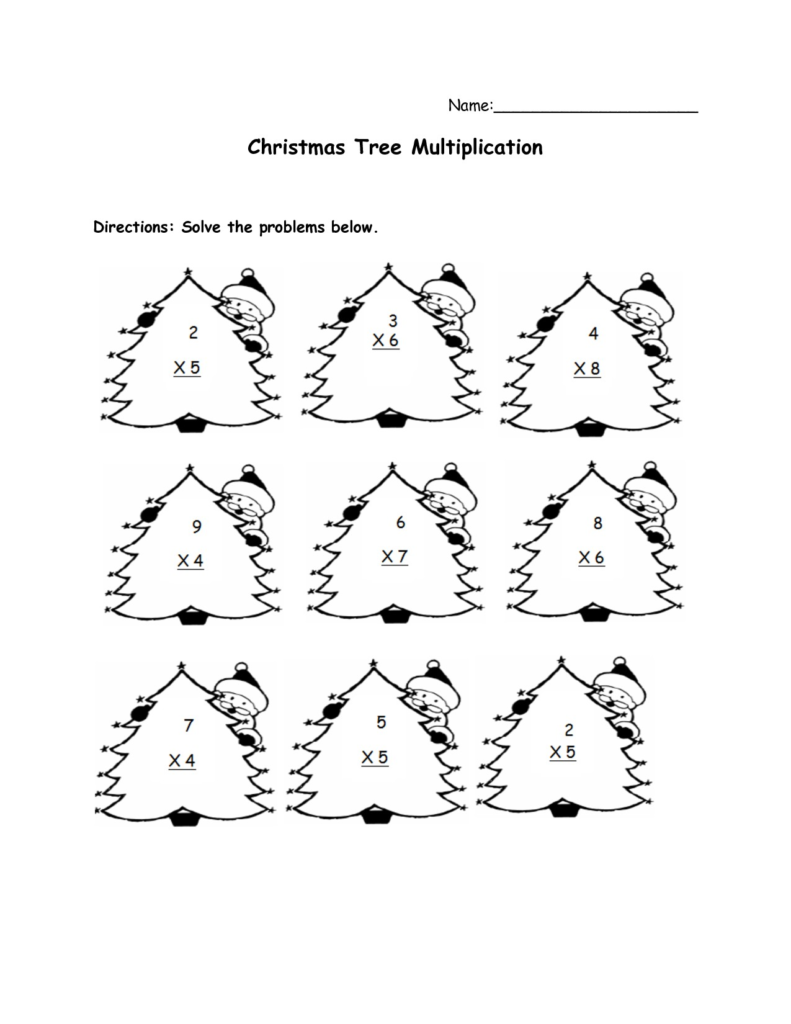Christmas Math Coloring Worksheets 5th Grade With Multiplication For
