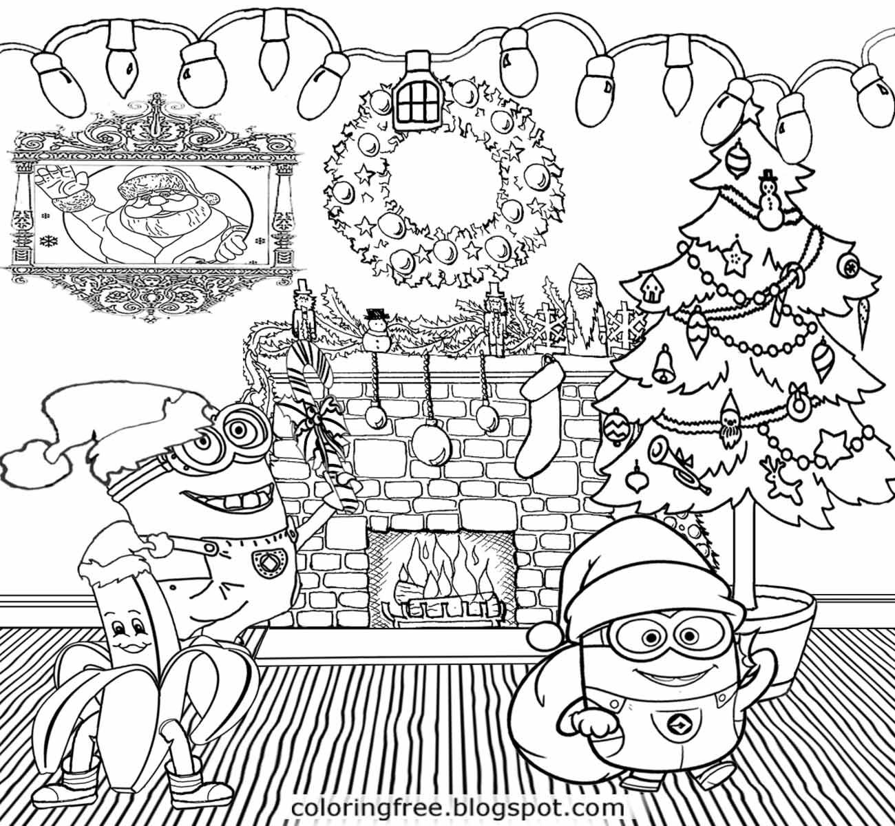 Christmas Minion Coloring Pages With Holiday Decorations Merry Minions Cool