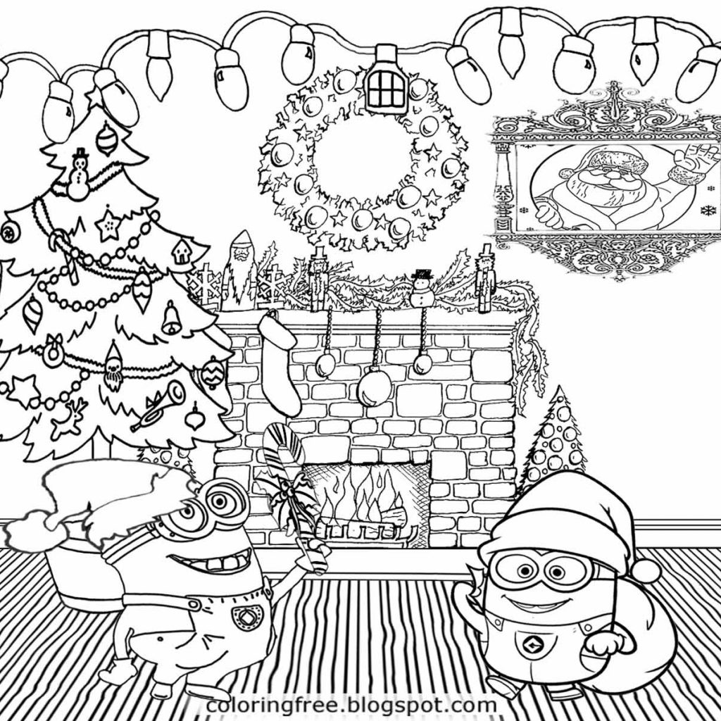 Christmas Minion Coloring Pages With Printable Free And Color Online Runninggames Me