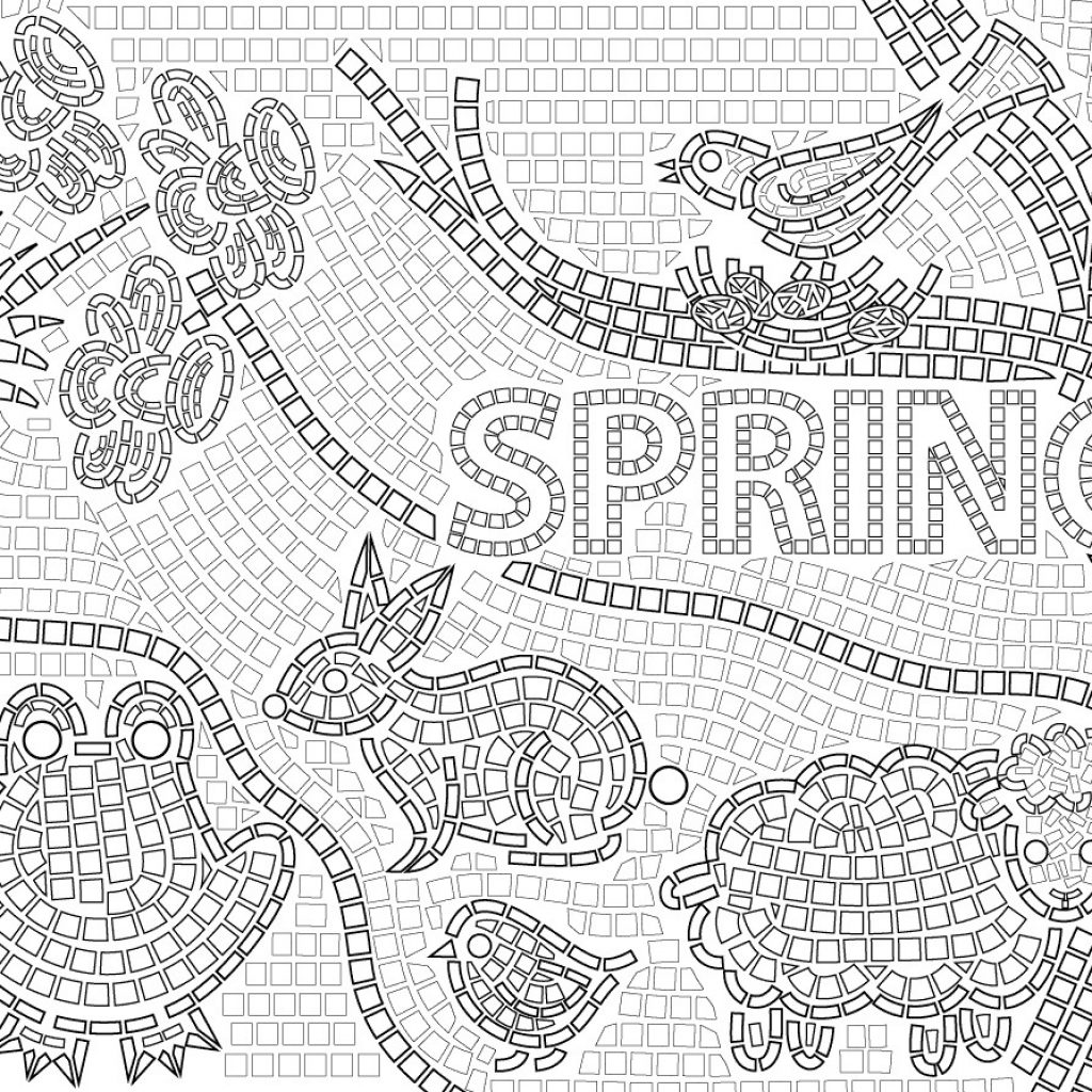 Christmas Mosaic Coloring Pages With Bell To Print 1 Idig Me