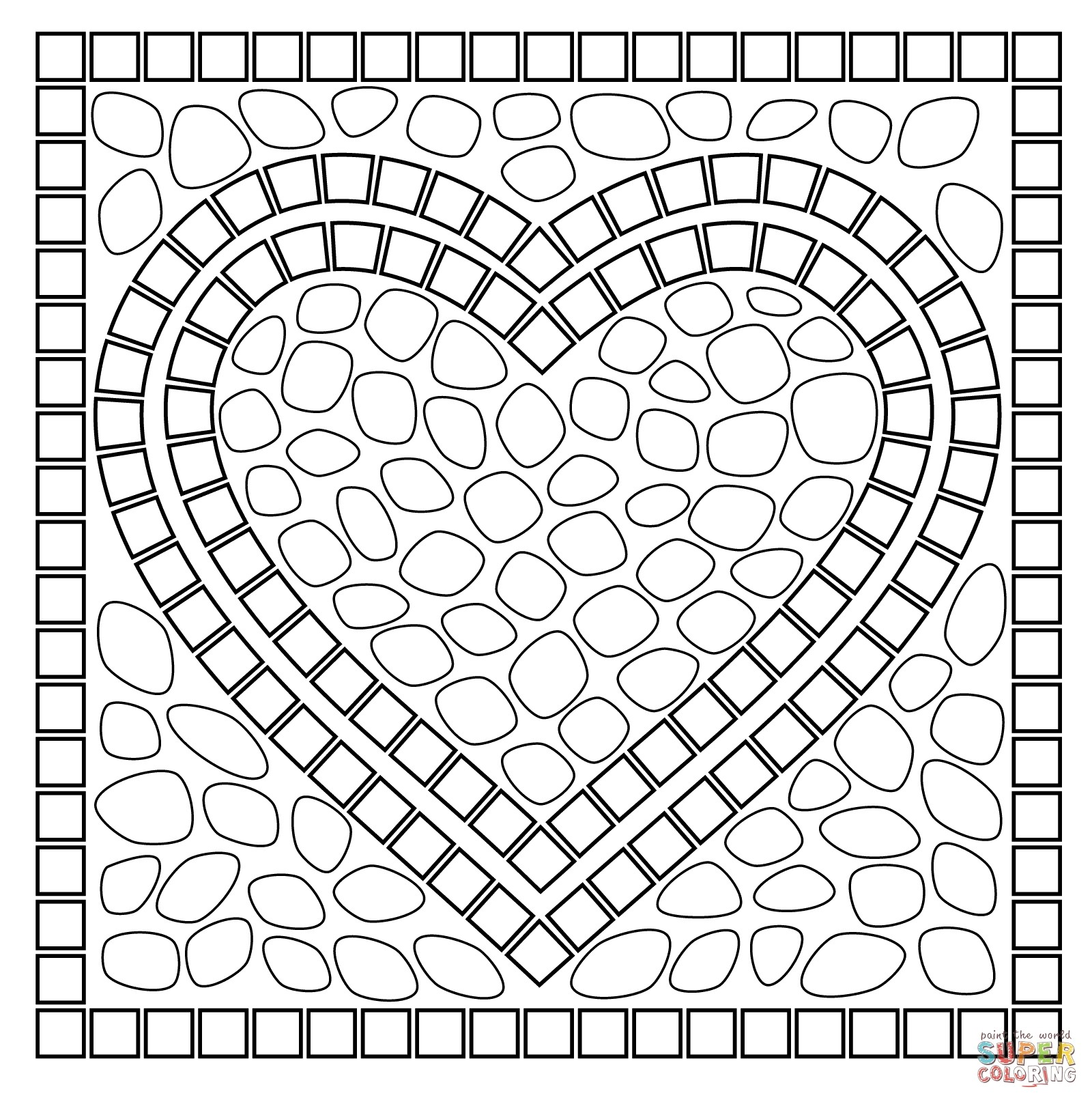 Christmas Mosaic Coloring Pages With Disney Inspirationa Promising Printable Roman
