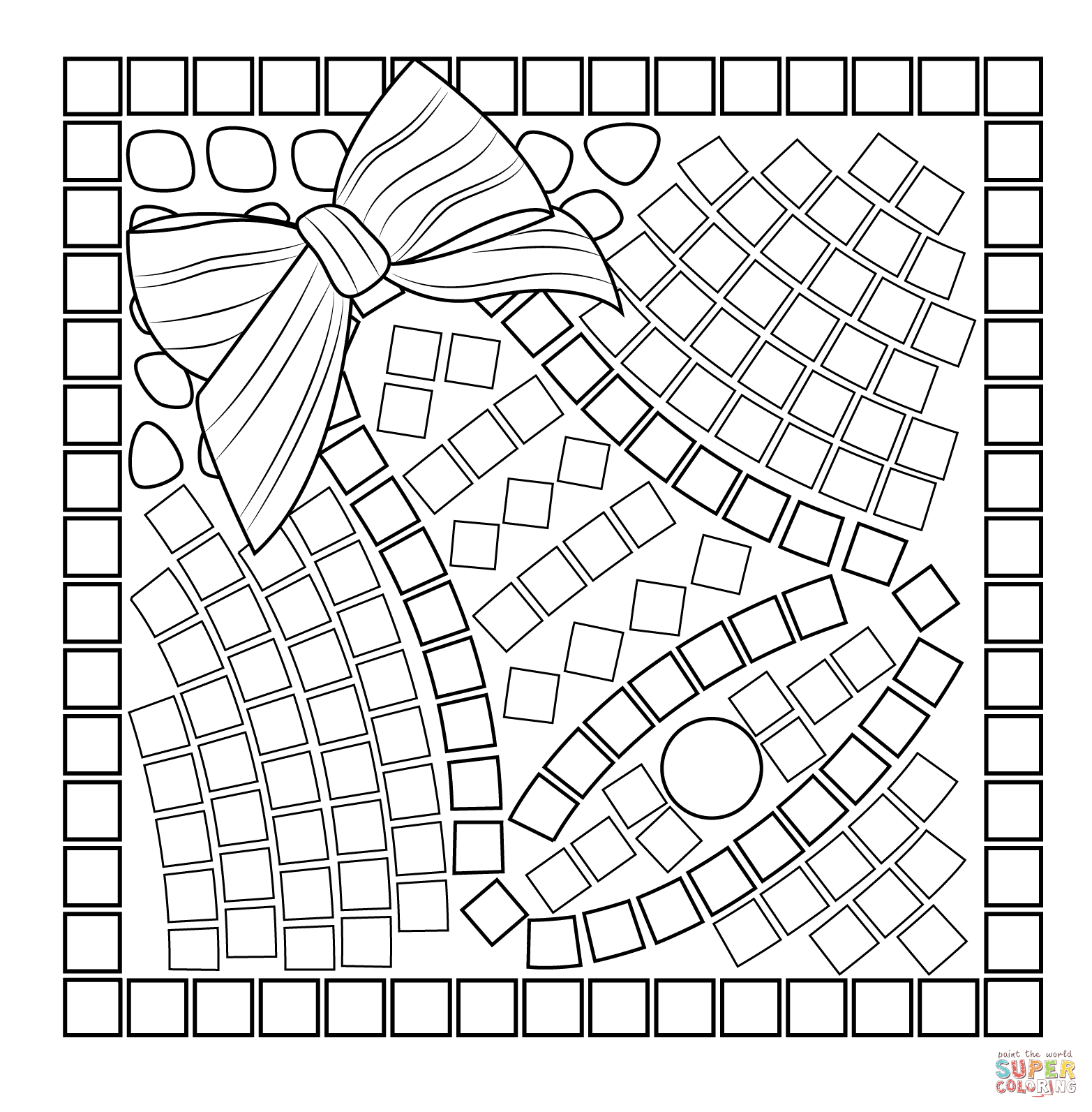Christmas Mosaic Coloring Pages With Free
