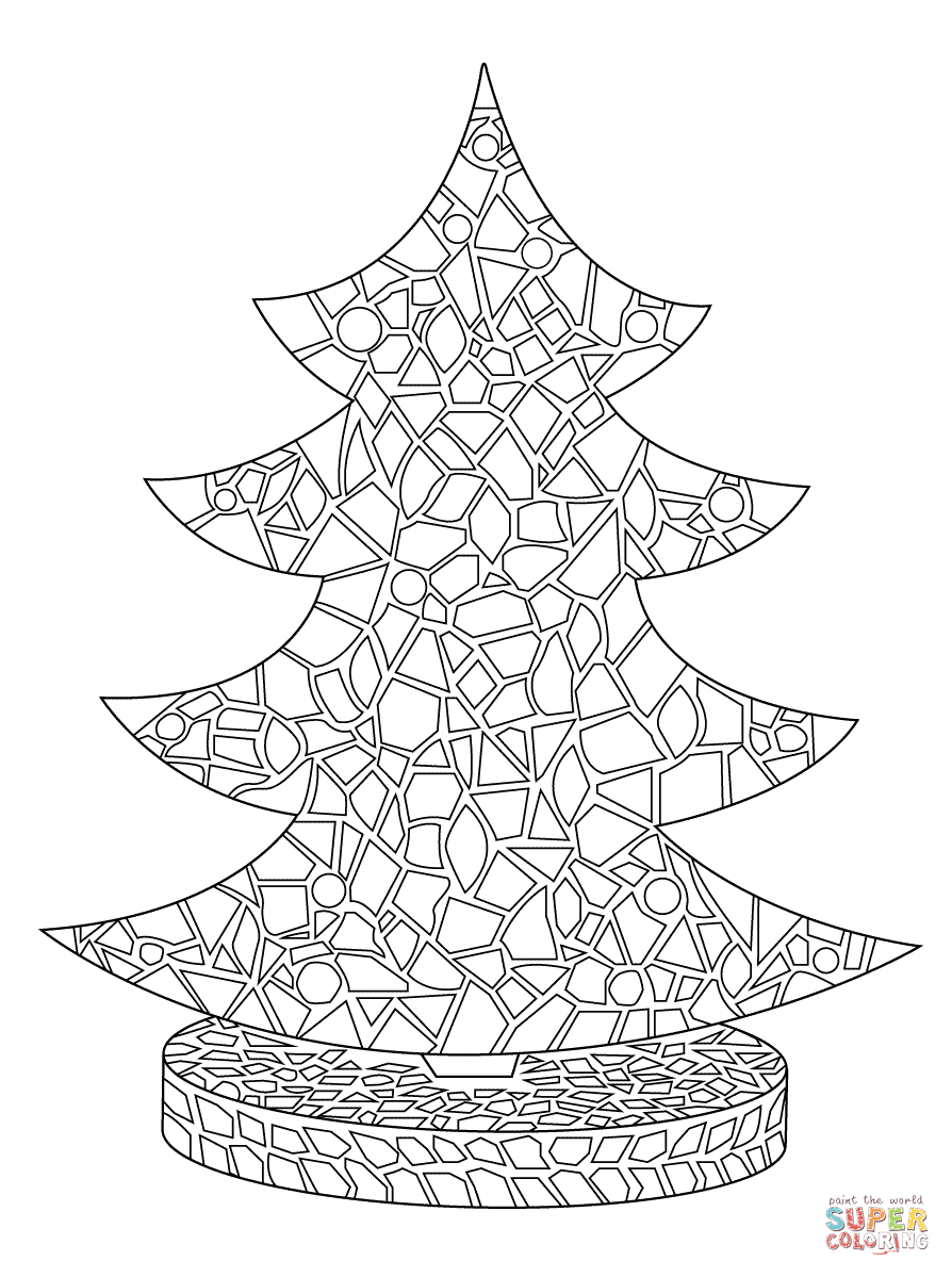 Christmas Mosaic Coloring Pages With To Download And Print For Free ADULT