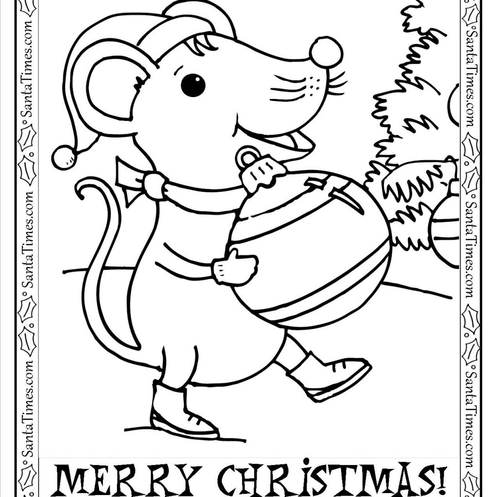 Christmas Mouse Coloring Pages With Merry Printable Page