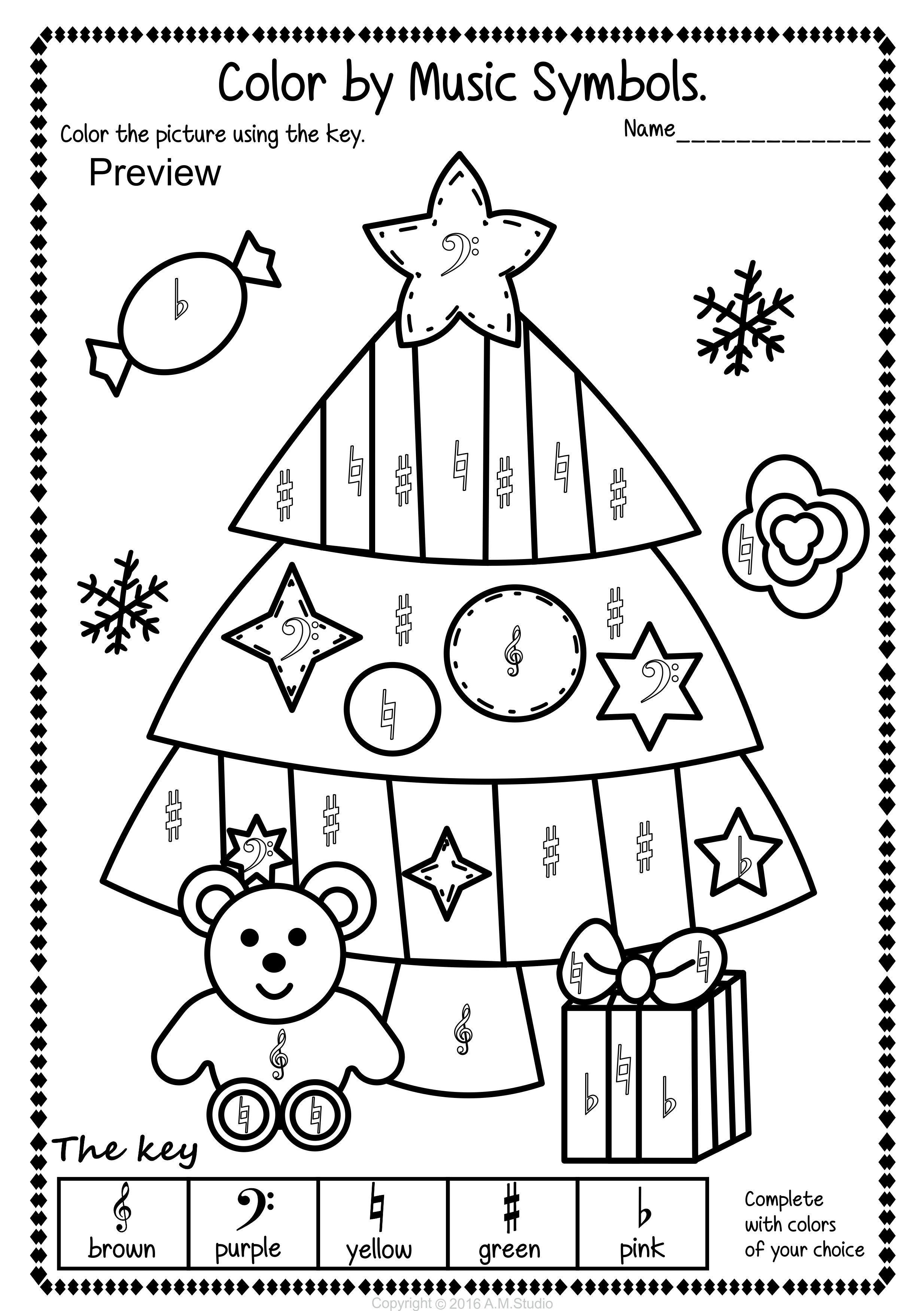 Christmas Music Coloring Pages With Color By Pack Activities
