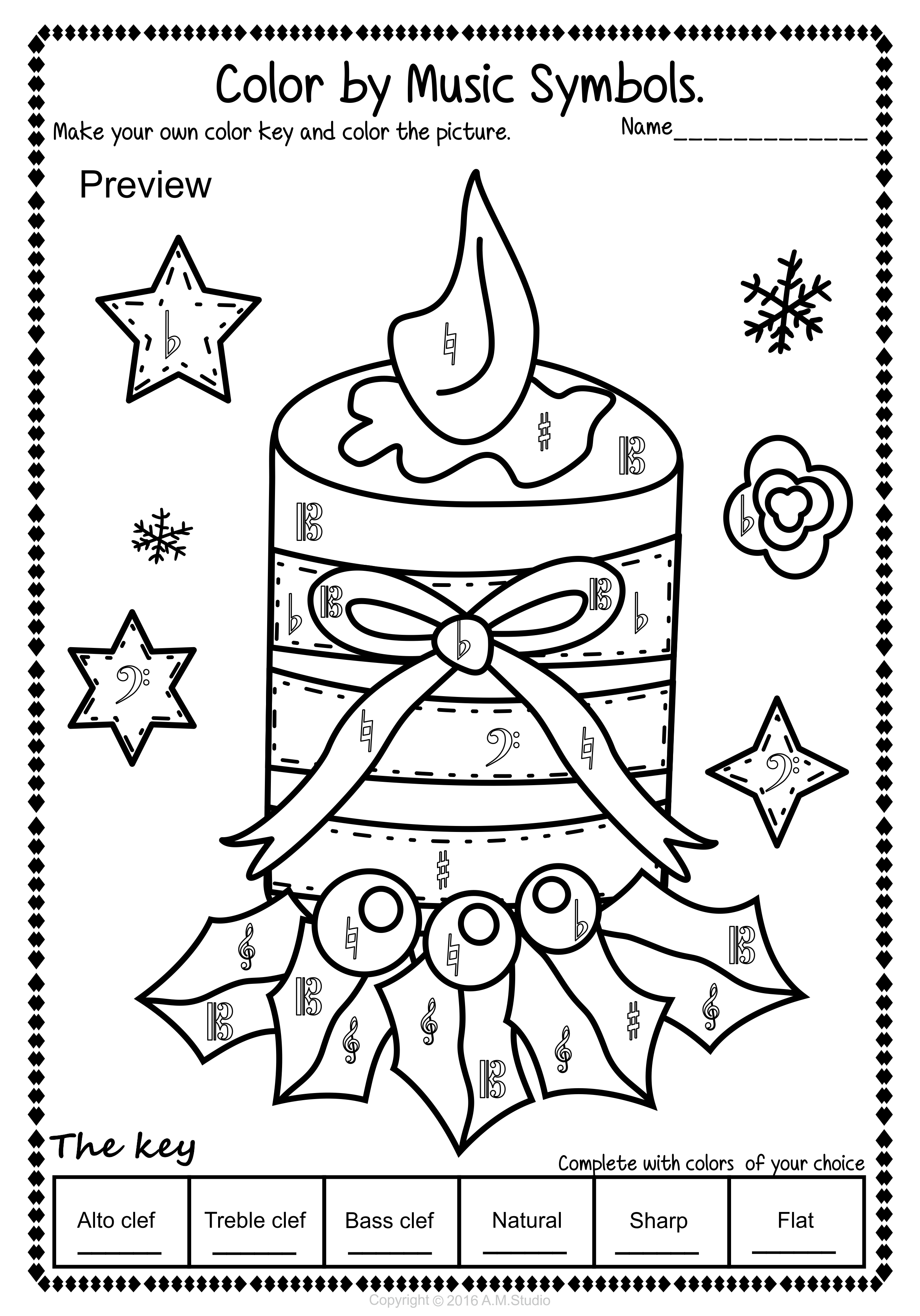 Christmas Music Coloring Pages With Pinterest
