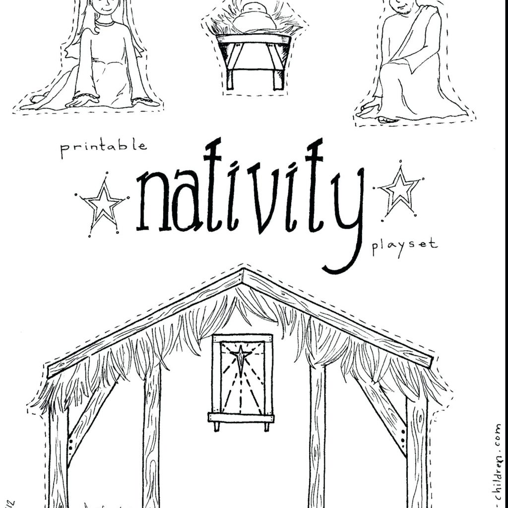 Christmas Nativity Coloring Pages For Adults With Free Manger Scene Of Within
