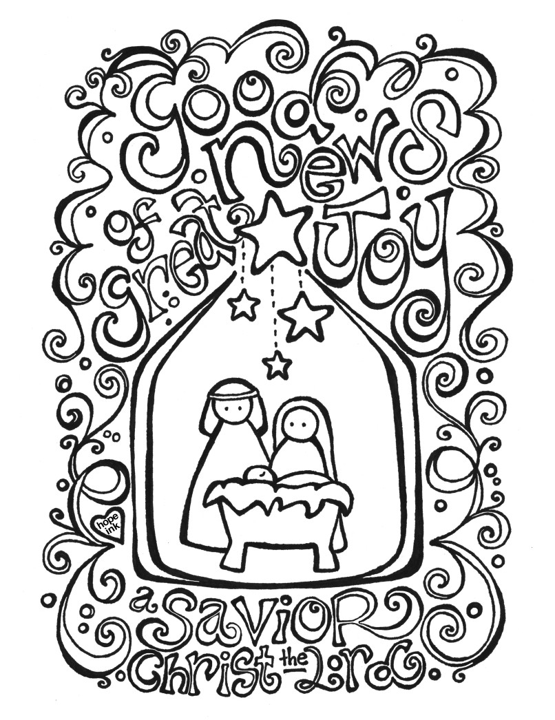 Christmas Nativity Coloring Pages For Adults With Print 2