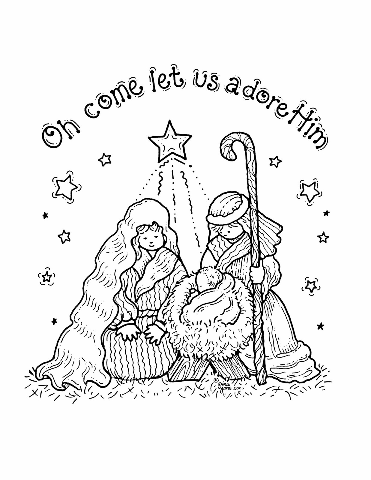 Christmas Nativity Coloring Pages Printable With Free For Kids Best