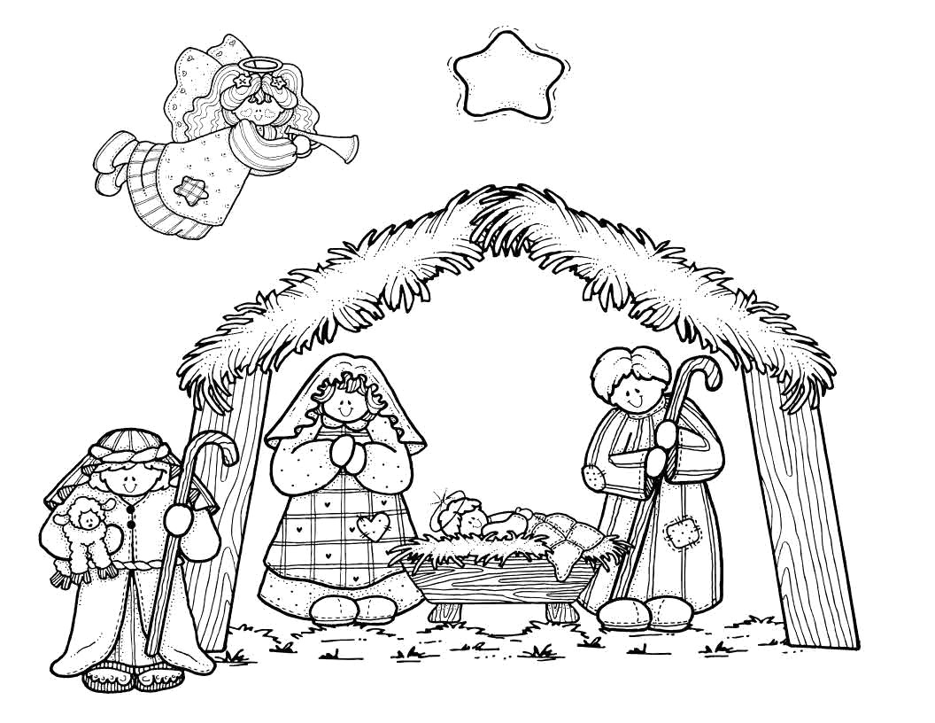 Christmas Nativity Coloring Pages Printable With Stable Drawing 28 Page Nazly Me