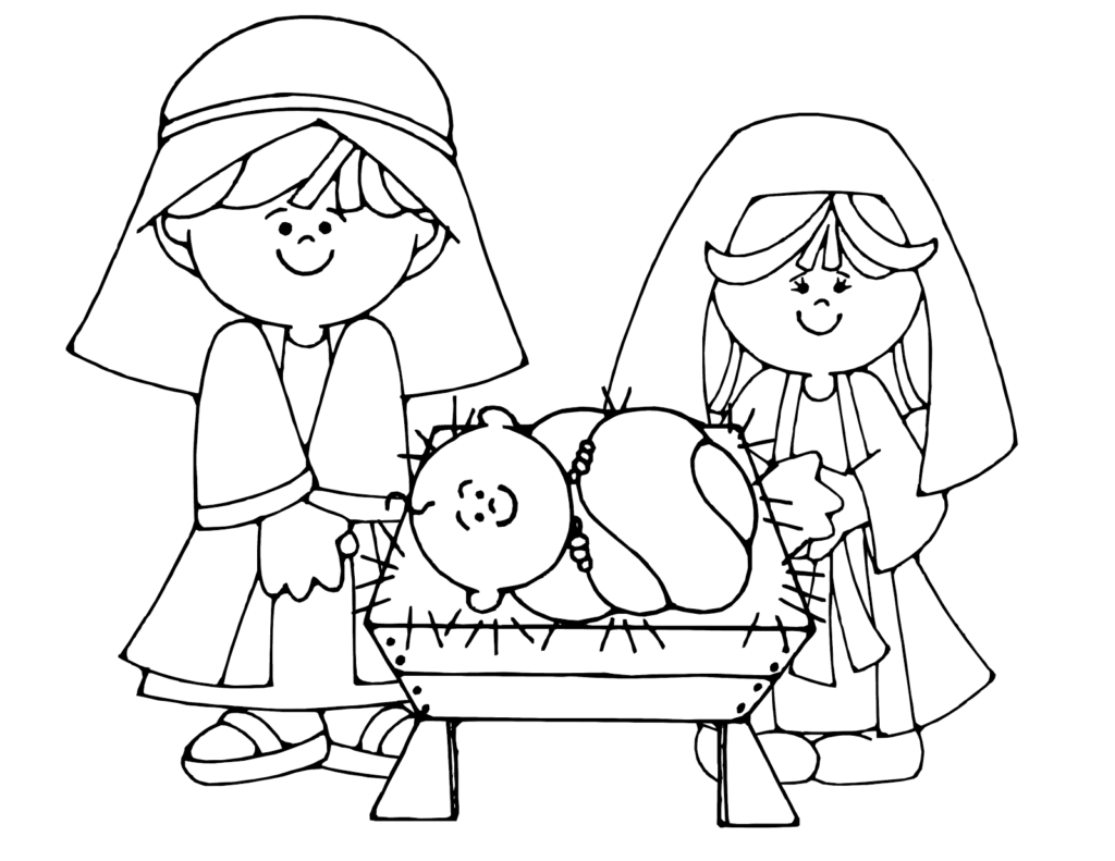 Christmas Nativity Coloring Pages With Simple Scene Colouring Page Kids Crafts Pinterest