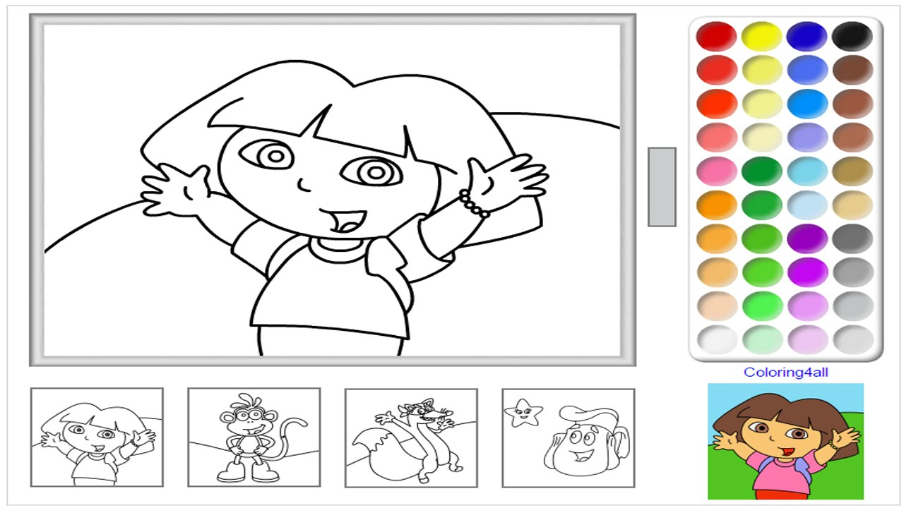 Christmas Online Coloring Pages Free With Dora The Explorer Game