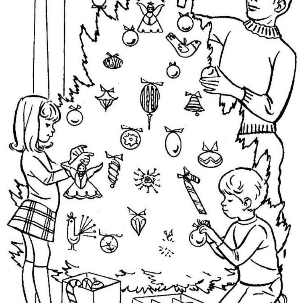 Christmas Online Coloring Pages Free With Print Decorating Tree Or Download