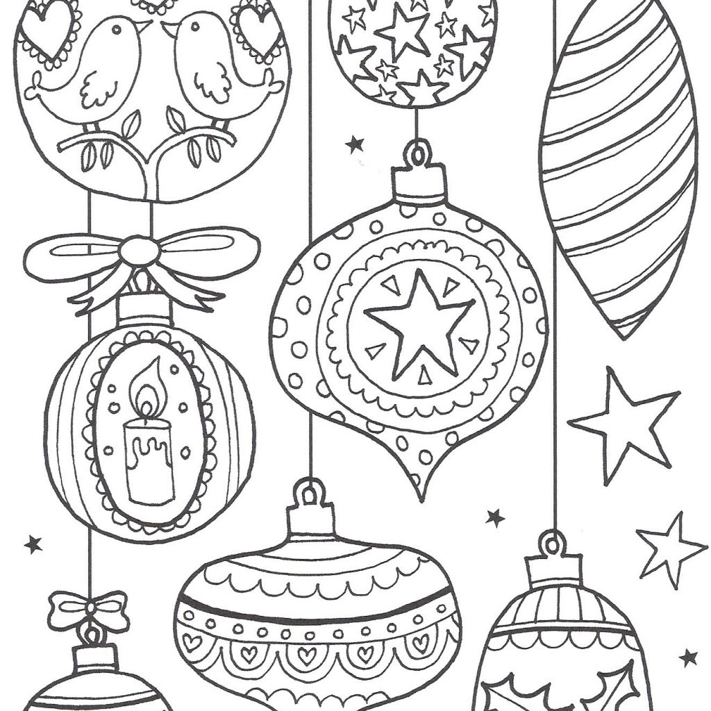 Christmas Ornament Coloring Sheet With Kleurplaat Printables Fonts