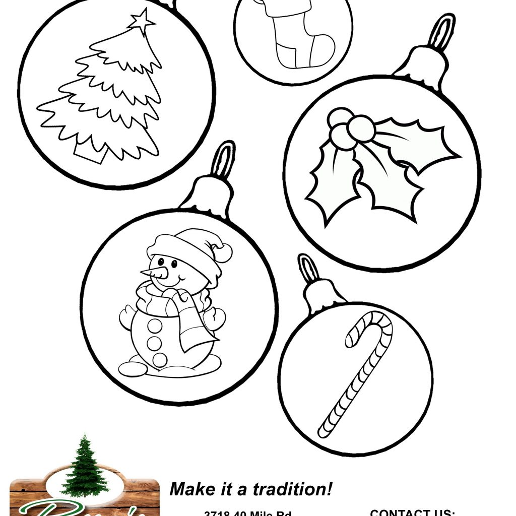 Christmas Ornament Coloring Sheet With Tree Decorations Sheets Inspirationa