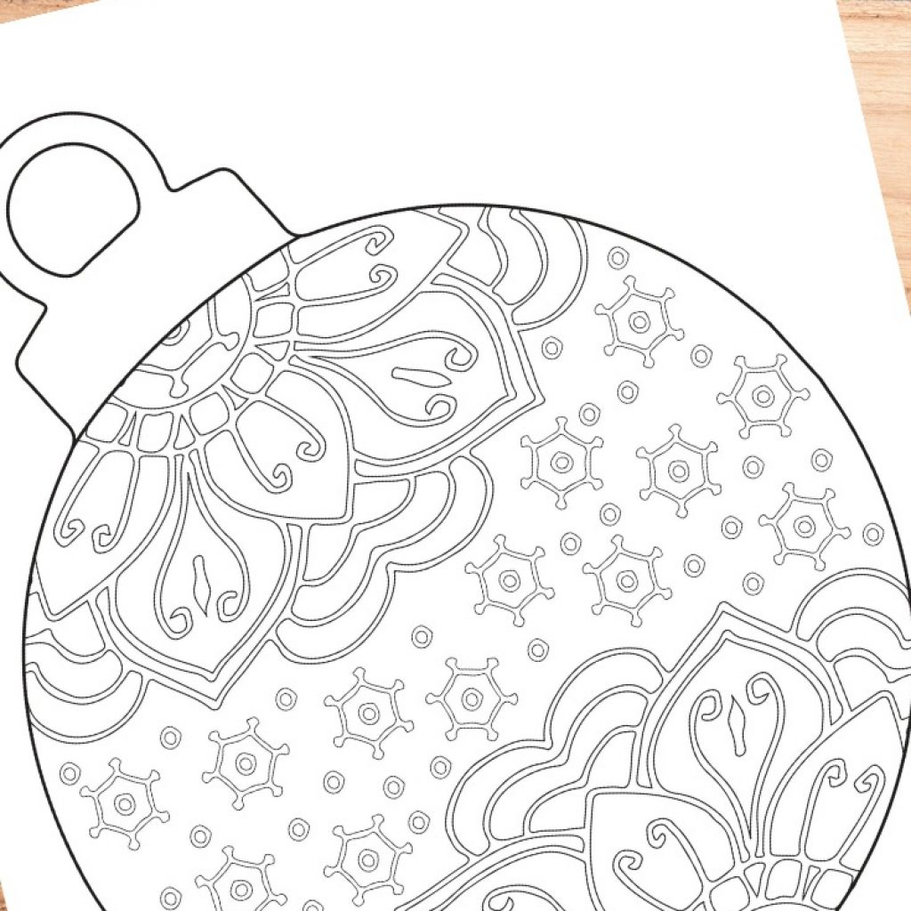 Christmas Ornaments Coloring Pages For Adults With Ornament Page Trail Of Colors