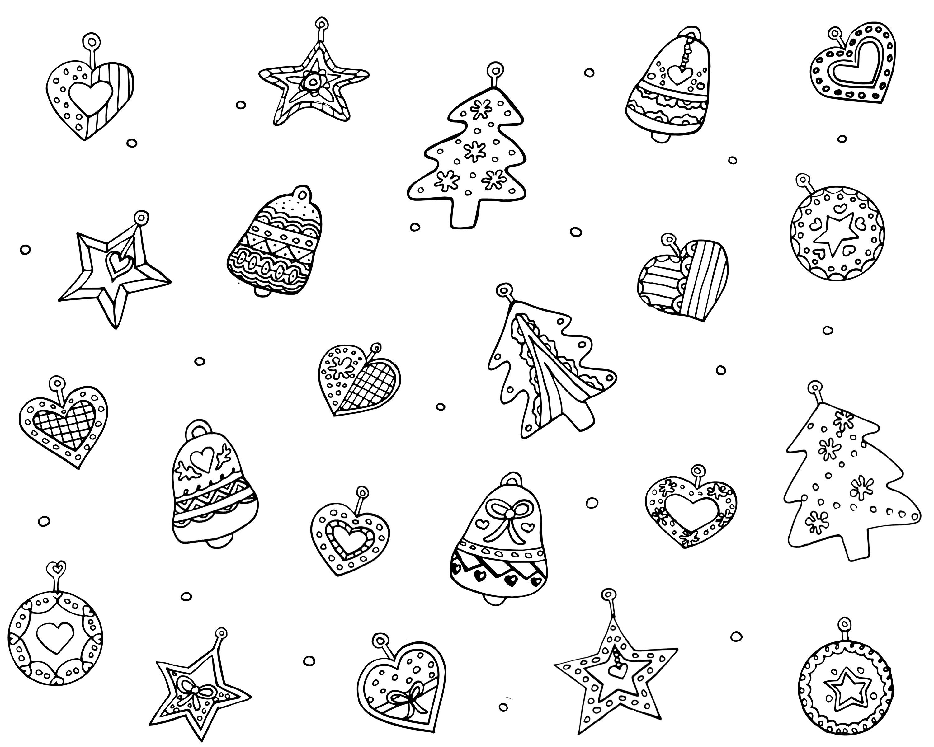 Christmas Ornaments Coloring Pages For Adults With Tree Decorations Sheets New Free