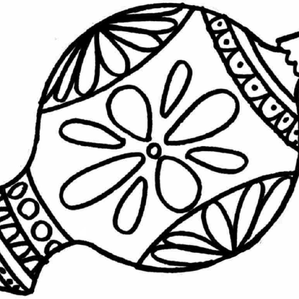Christmas Ornaments Coloring Pages Printable With Ornament Best Template Collection