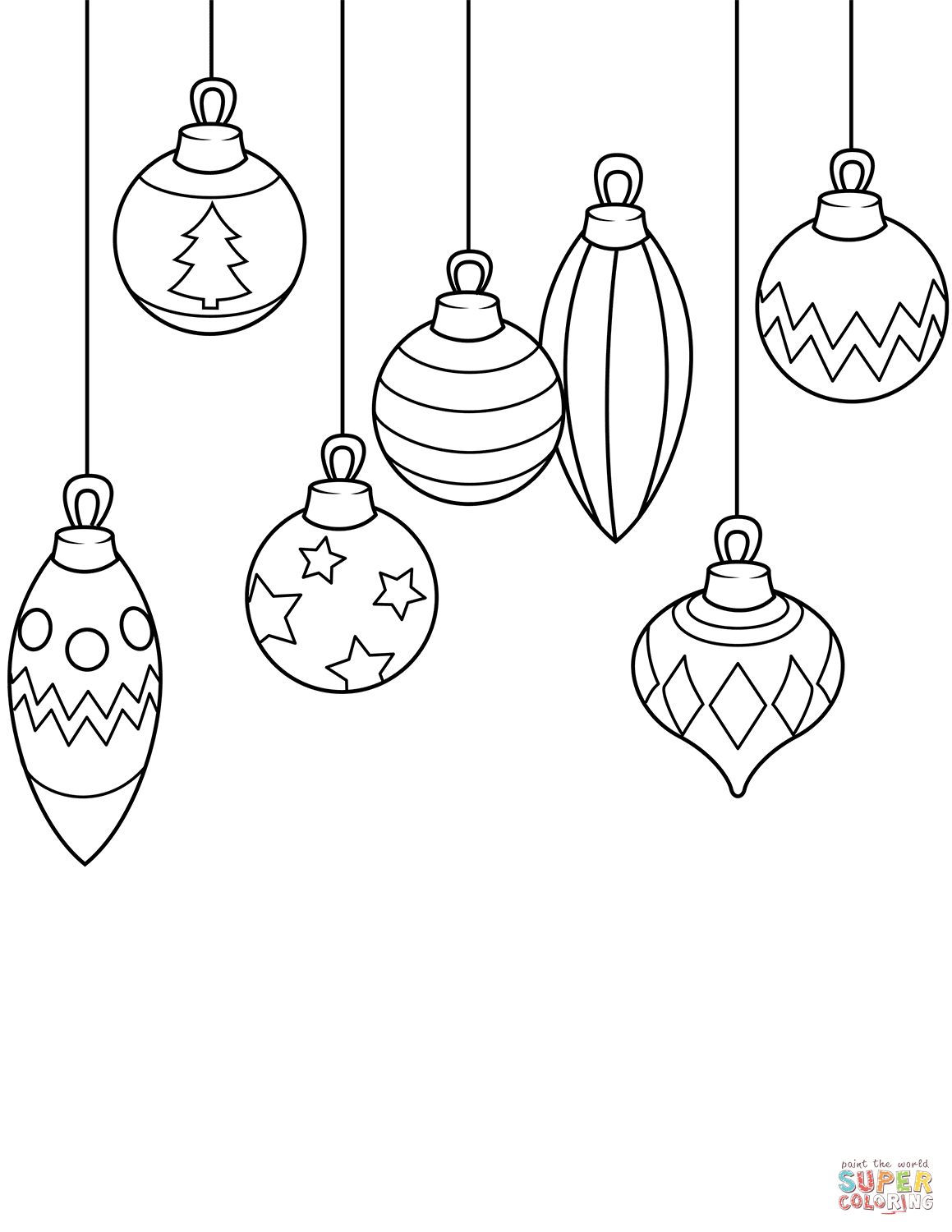 Christmas Ornaments Coloring Pages Printable With Page Free