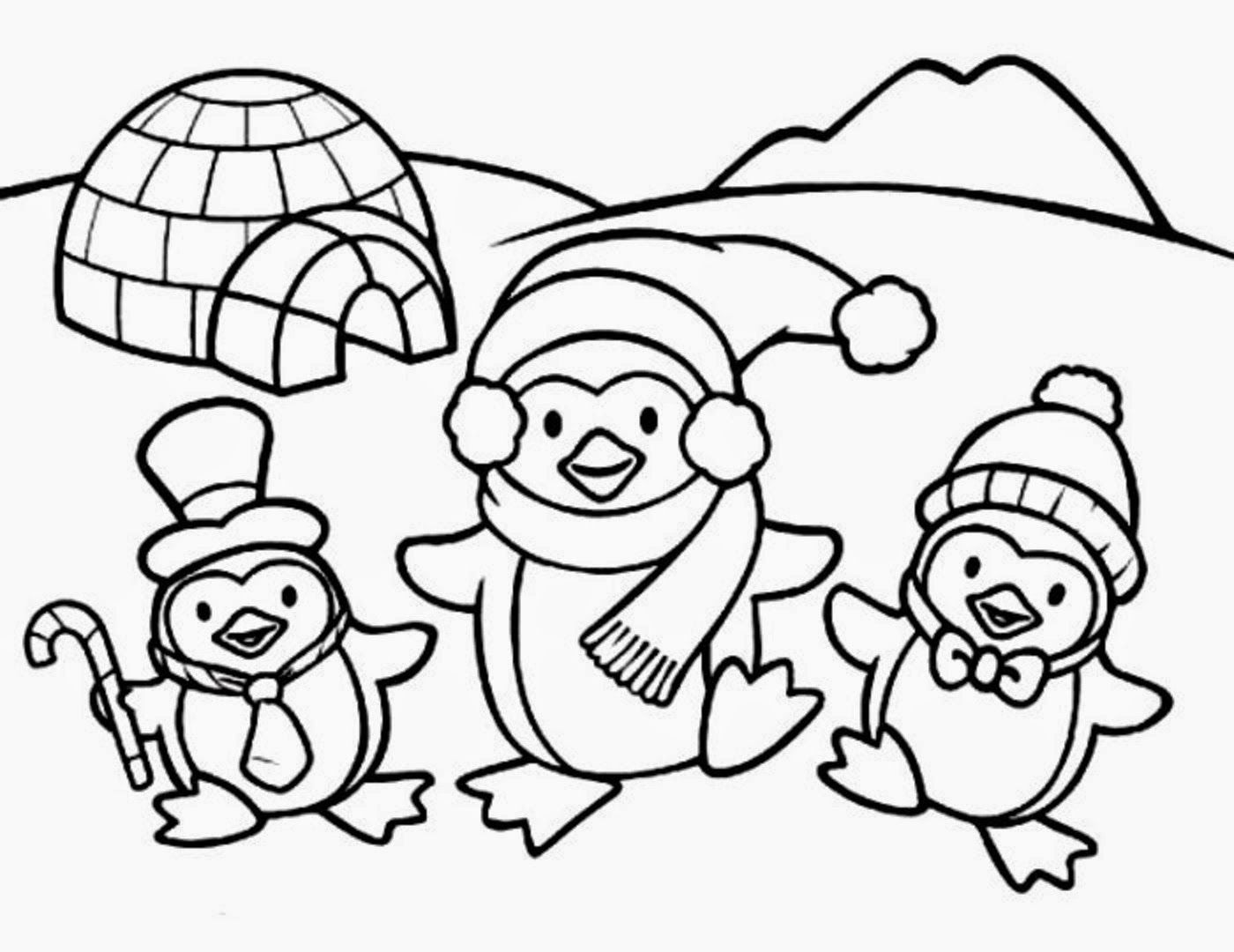 Christmas Penguin Coloring Pages Printable With Cute Baby Colour Drawing HD Wallpaper Penquins Pinterest