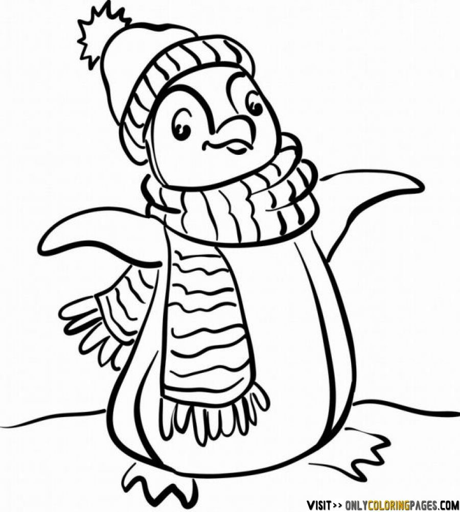 Christmas Penguin Coloring Pages Printable With Free Page Colorbook Pinterest Penguins