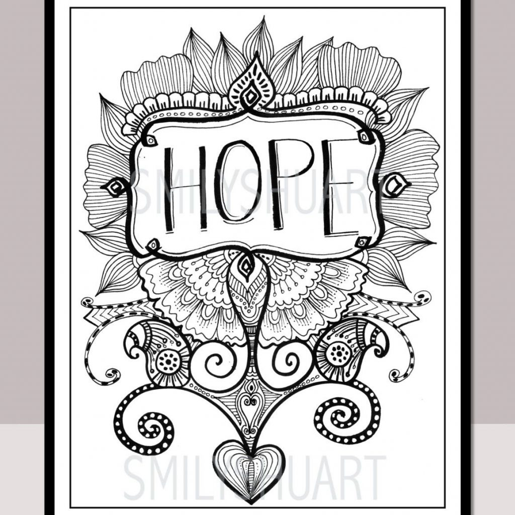 Christmas Quotes Coloring Pages With Zentangle Copy Hope Printable Motivational