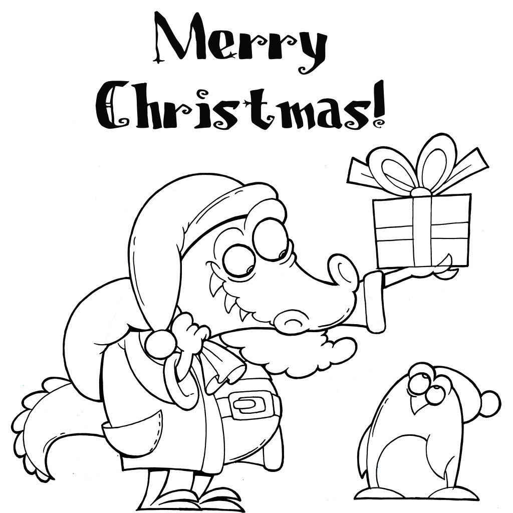 Christmas Rabbit Coloring Pages With