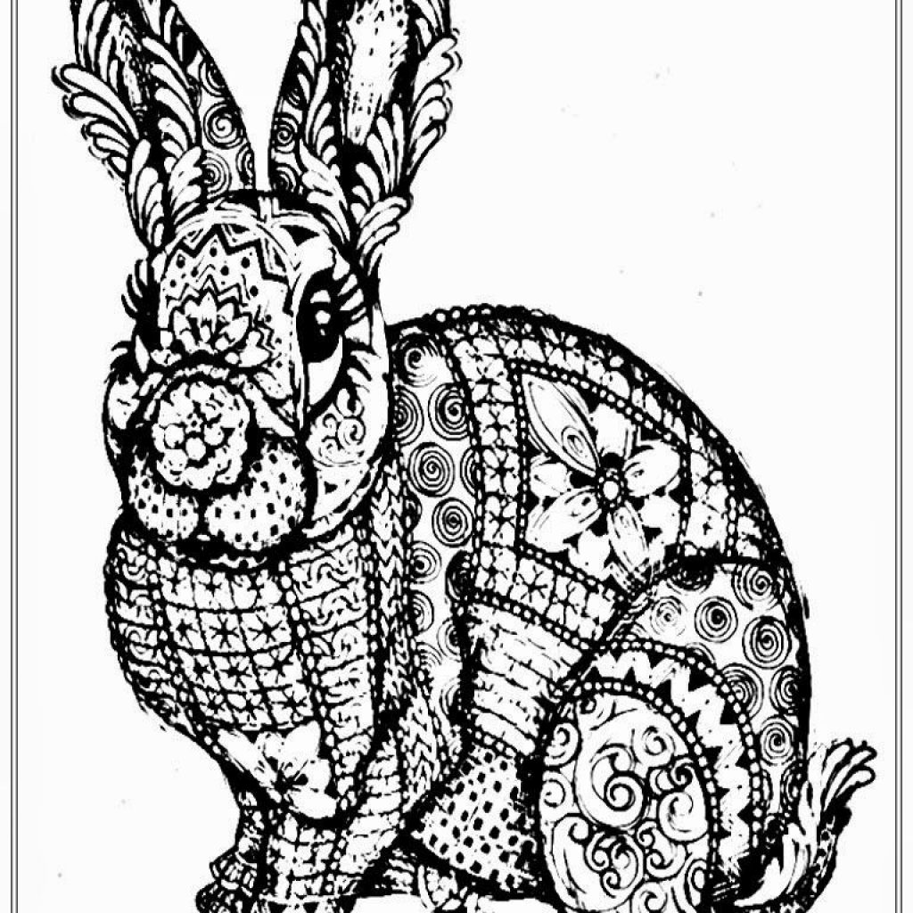 Christmas Rabbit Coloring Pages With Free Adult To Print For