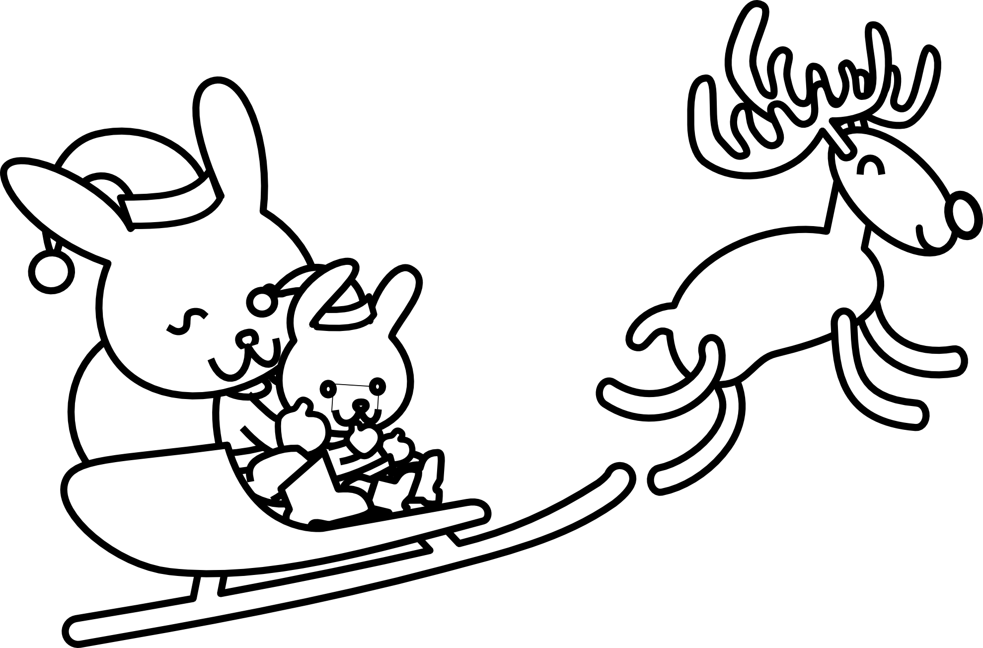 Christmas Rabbit Coloring Pages With Free Line Art Download Clip On