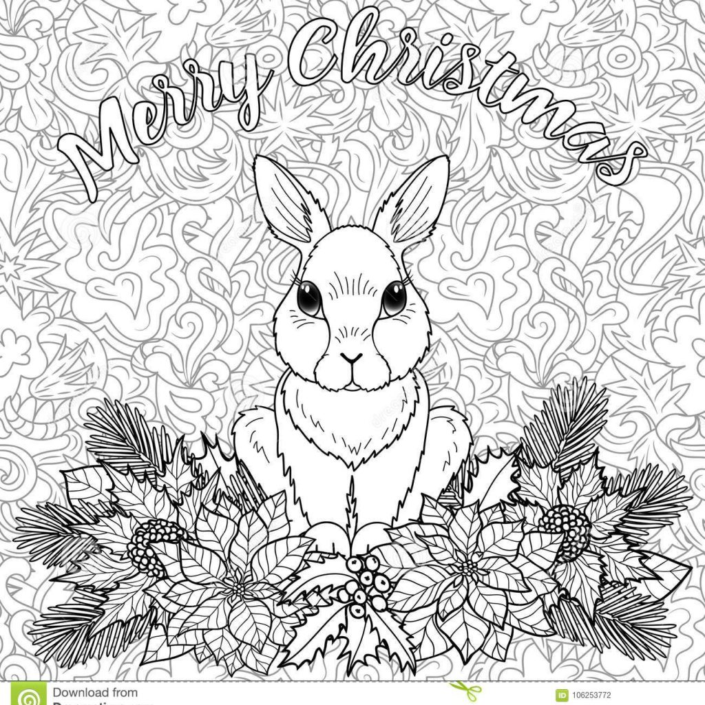 Christmas Rabbit Coloring Pages With Merry Page Stock Vector
