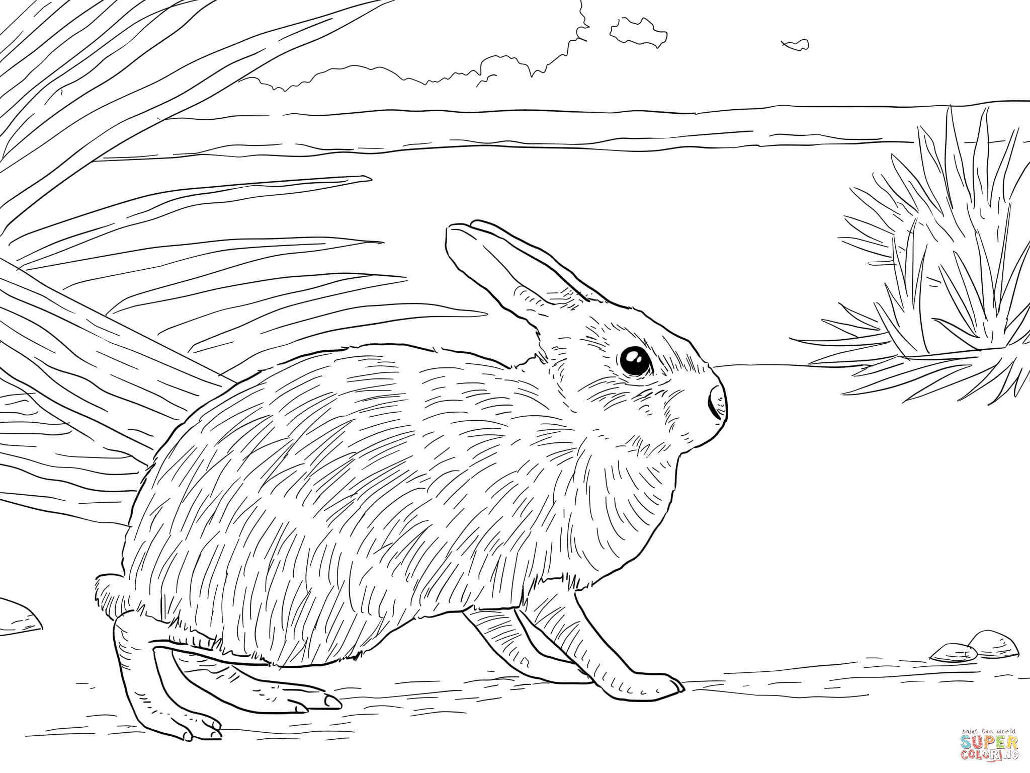 Christmas Rabbit Coloring Pages With Rabbits Free
