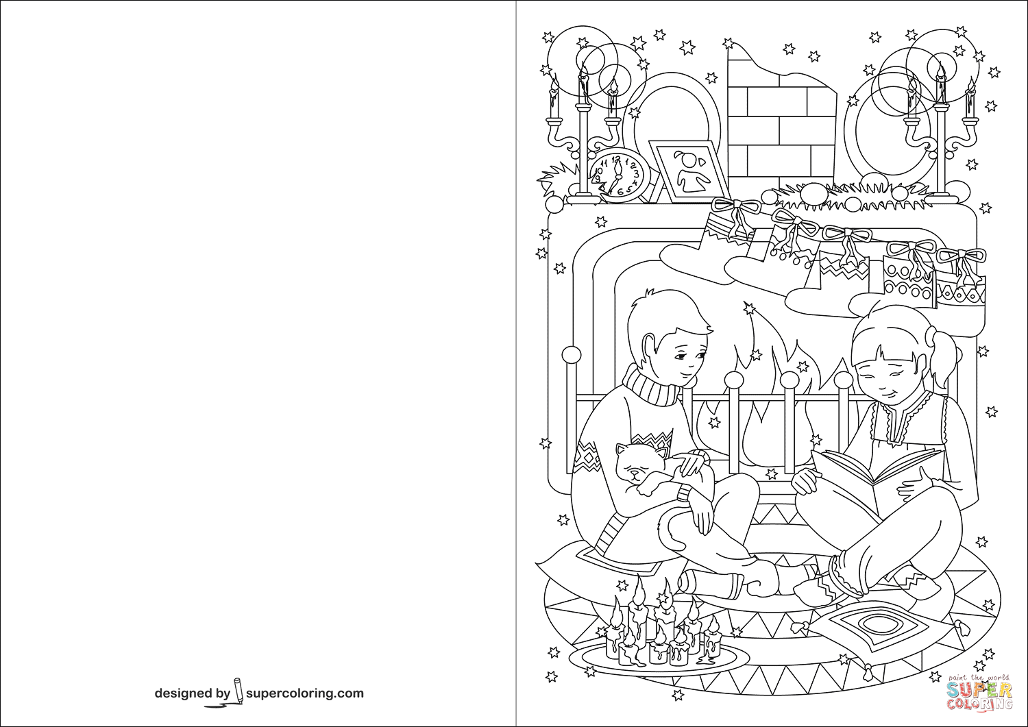 Christmas Reading Coloring Pages With Children In Front Of Fireplace Are Tales On Eve