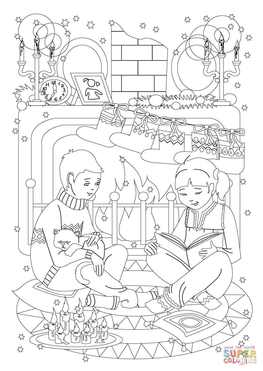 Christmas Reading Coloring Pages With Eve Free Library