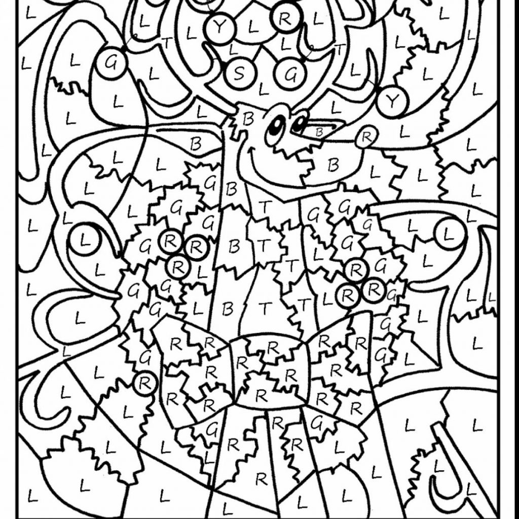 Christmas Reading Coloring Pages With Hard Color By Number Printables