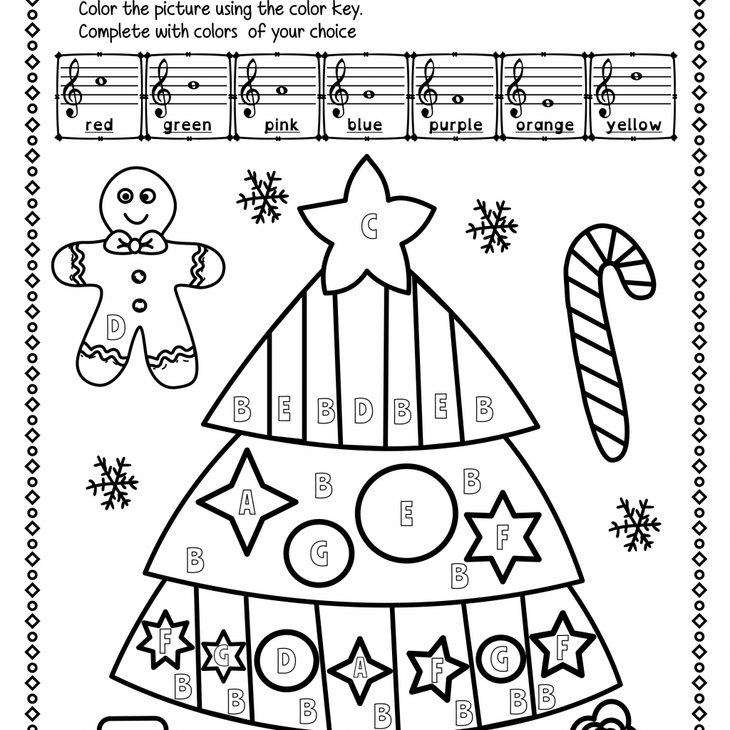 Christmas Reading Coloring Pages With Treble Clef Note Worksheets Avaboard
