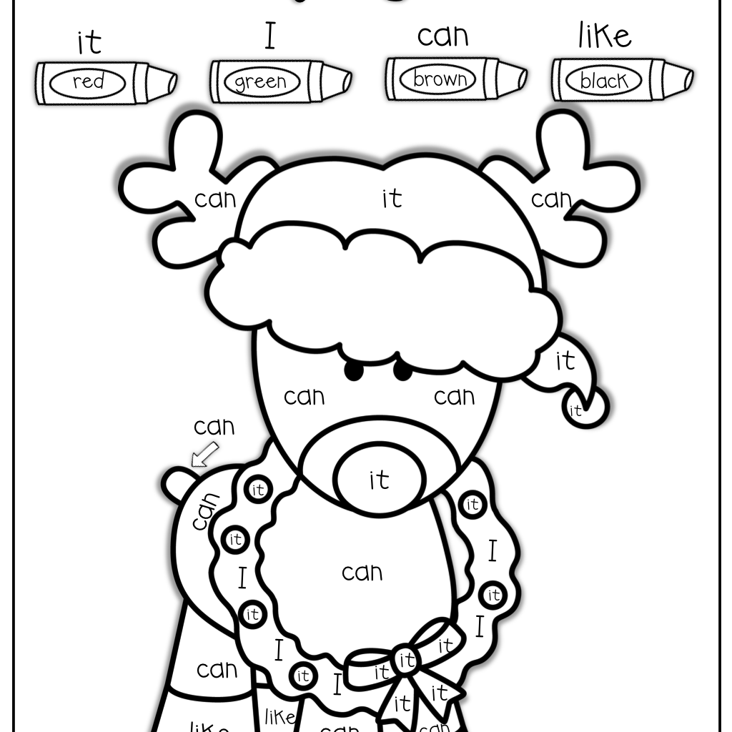 Christmas Reading Coloring Sheets With Color By Sight Word For VPK Class Pinterest